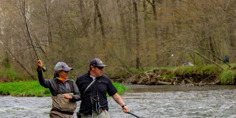 man and woman fly fishing venango county pennsylvania